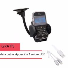 Phone Holder Mobil Untuk HP / GPS- Hitam + 2 IN 1 ZIPPER CABLE NOODLE STYLE MICRO USB & 8 PIN TO USB DATA SYNC CHARGE CABLE FOR IPHONE 6 & 6 PLUS, IPHONE 5 & 5S & 5C, IPAD AIR 2 & AIR, SAMSUNG GALAXY S6 & S IV / I9500, HTC ONE / M7, LENGTH: 45CM (WHITE)