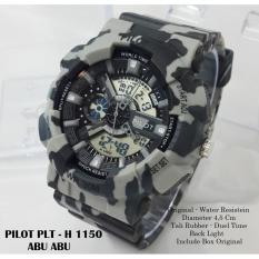 Spesifikasi Pilot Jam Tangan Pria Army Dual Time Rubber Strap Plt H 1150 A3 Bagus