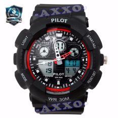 Toko Pilot Waterproof Digital Sport Jam Tangan Pria Strap Karet Hitam Merah Plt 1145 Yang Bisa Kredit
