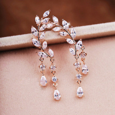 Jual Pinannie Cubic Zirkonia Rose Gold Disepuh Stud Earrings Untuk Wanita China Murah