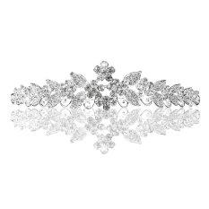 Pixnor Beautiful Pernikahan Pengantin Bersinar Kristal Rhinestones Mahkota Tiara Ikat Kepala Rambut Tali dengan Comb (