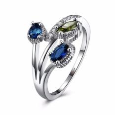 Platinum Romantis Cincin Wanita Lady Zircon Cincin Kawin dengan Free Gift Box-Intl
