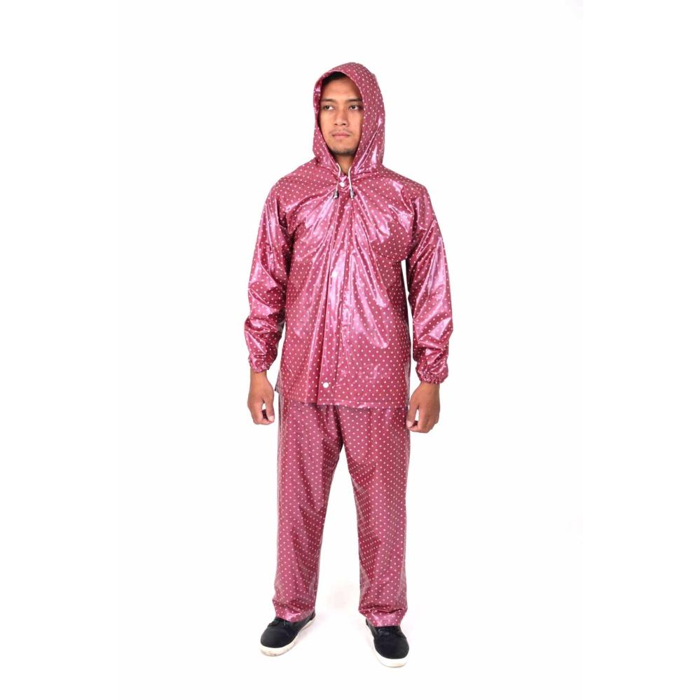Plevia Jas Hujan Jaket Celana POP Tipe 810 Motif Polkadot - Merah Hati