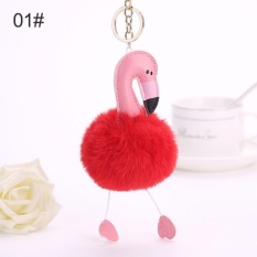 Mainan Mewah Kunci Lingkaran Gantungan Kunci Liontin Tas Mobil Bulu Bola Animal Burung Kelinci-Internasional