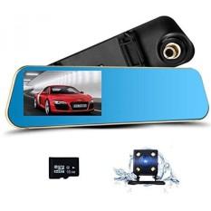 Podofo Dual Lens Dash Cam Car Camera Full HD 1080 P Kendaraan Perekam Video dengan 4.3-inch Rear View Cermin Depan dan Belakang DVR, 16 GB Termasuk Micro SD Card-Intl