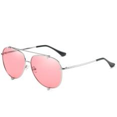 Polarized Sunglasses Fashion Ocean Lens Men & Women Fashion Tombs Retro Sunglasses WD0907-04(Silver frame pink sheet) - intl