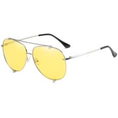 Polarized Sunglasses Fashion Ocean Lens Men & Women Fashion Tombs Retro Sunglasses WD0907-06(Silver box yellow film) - intl