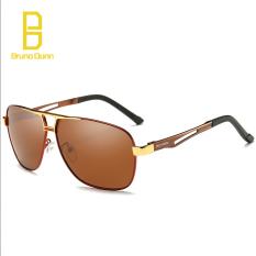 Polarized Sunglasses Men Original Brand Designer Square Sunglases dengan Kotak Kacamata Matahari untuk Pria 8521 (teh Frame Teh Lense) -Intl
