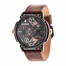 POLICE PL.14693JSB/12A - Steampunk - Dual Time - Multi Dial - Jam Tangan Pria - Bahan Tali Leather - Coklat