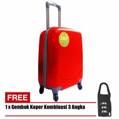 Polo Hoby Koper Hardcase Luggage 18 Inchi 705-18 Anti Theft - Red + Free Padlock Suitcase