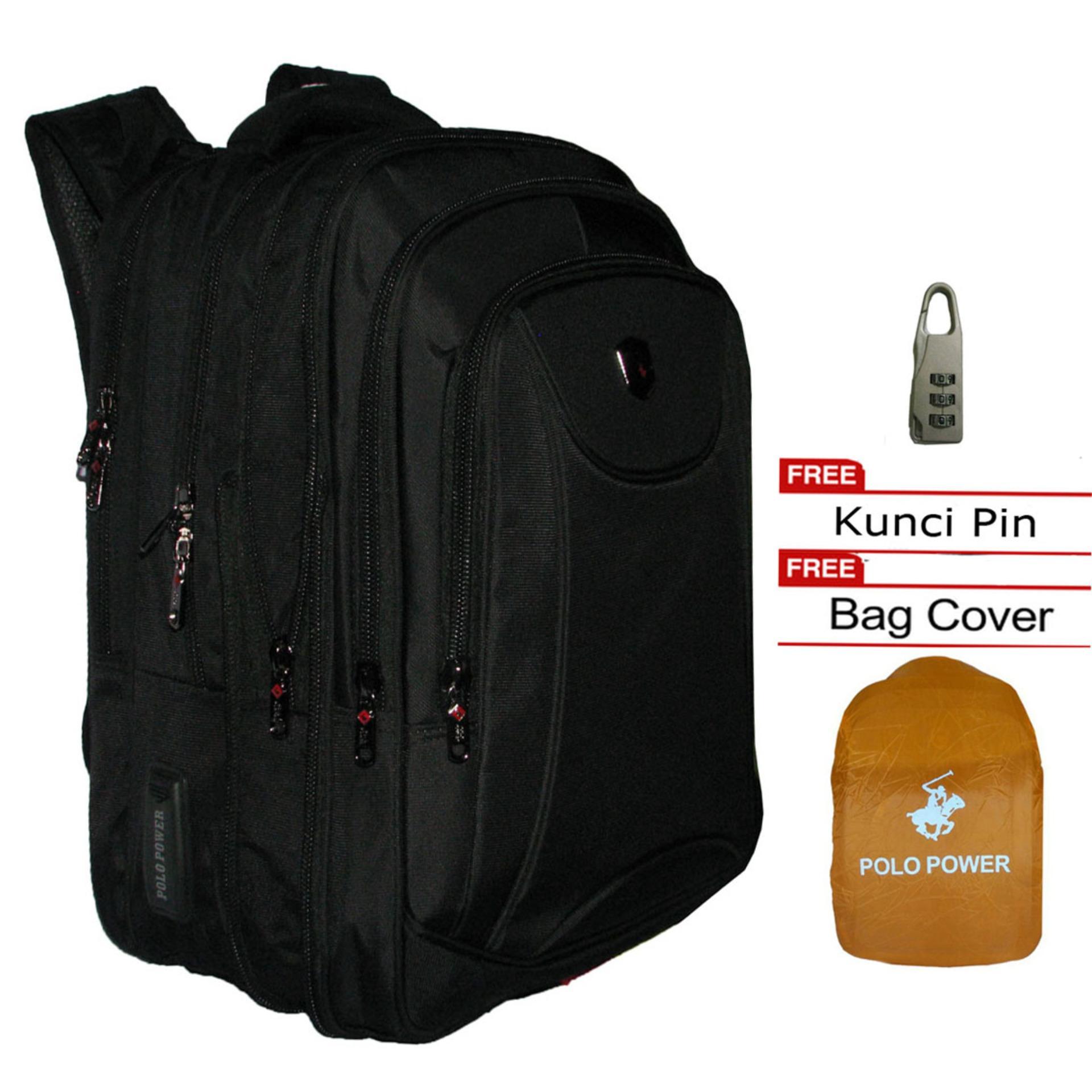 Polo Power Ransel Backpack Expandable Grade Top Kuality PP185002- Black