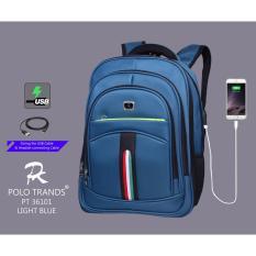 Polo Trans - Tas Ransel  port usb - Blue - original