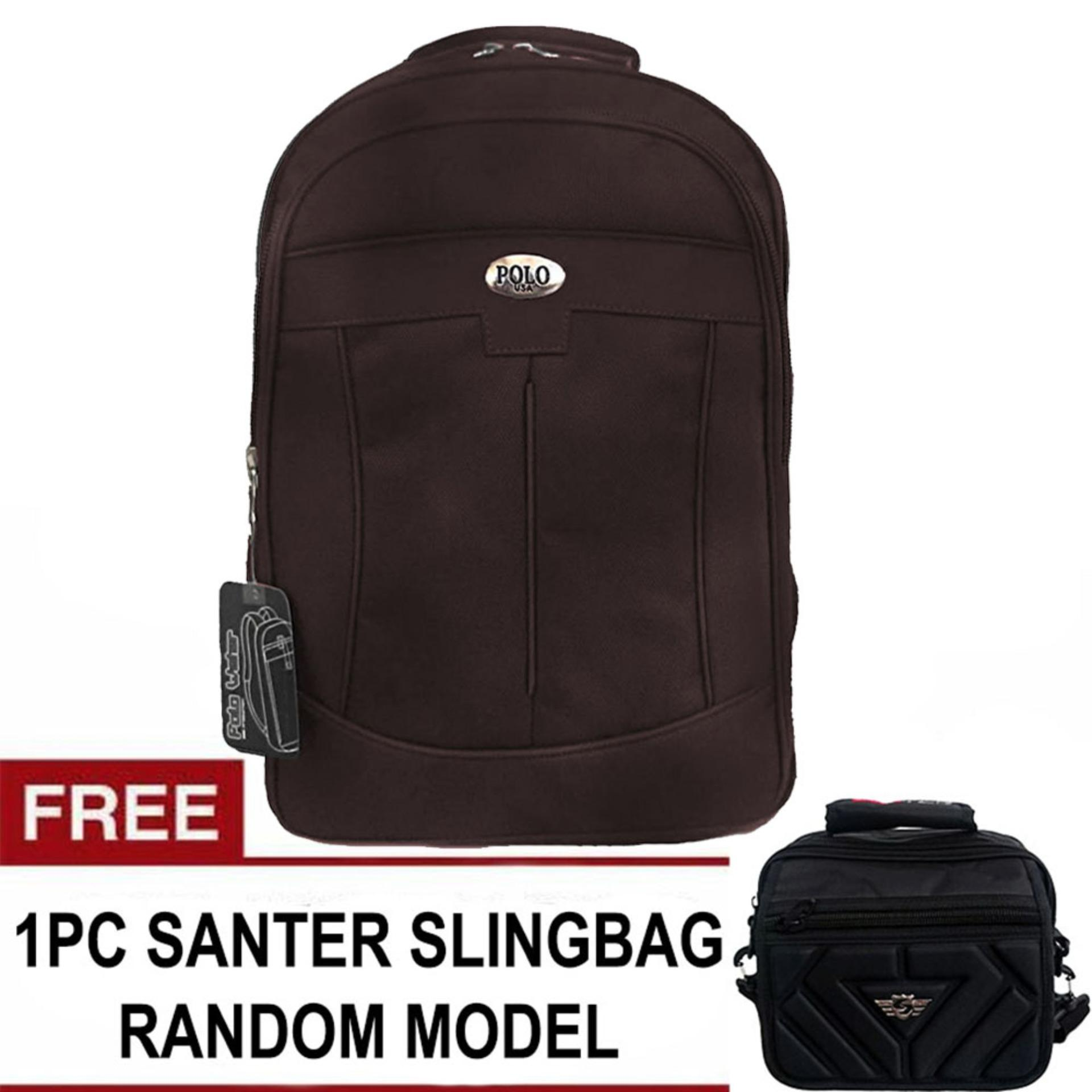 Harga Penawaran PoloClub Decker Laptop Backpack + FREE SANTER Wide Random Model Slingbag discount - Hanya