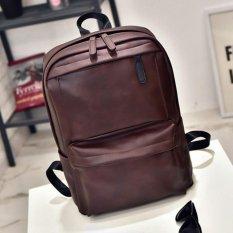 Polo Walker Waterproof Luxury Pu Leather Laptop Notebook Backpack Bags 9802 Brown Asli