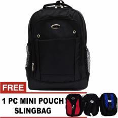 PoloClub Water Laptop Backpack Up To 14 Inch + FREE 1 Mini HP Pouch Slingbag Random / Tas Pria / Ta