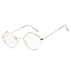 Poligon Kepribadian Kecil Kotak Sunglasses Ocean Film Kacamata Kacamata-Emas Bingkai Putih
