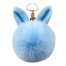 Suruh Keputusan Pengaruh Fluffy Wanita Kelinci Telinga Fur Ball Kunci Cincin Casing Keychain (Biru)