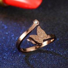 Populer Rose Gold Titanium Cincin Baja Perhiasan Pembukaan Zircon Frosted Kupu-kupu Betina Ring Pesona Wedding Ring-Intl