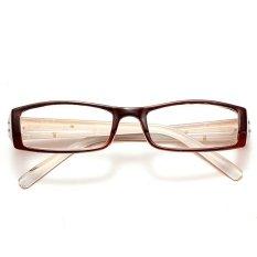 Mode Portabel Ringan Cokelat Wanita Pola Bingkai Kacamata Baca Getah + 1.0-Internasional