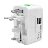 Jual Portable Universal International Travel Charger Power Socket Adapter Converter Us Uk Au Eu Plug With Dual Usb Port Intl Import
