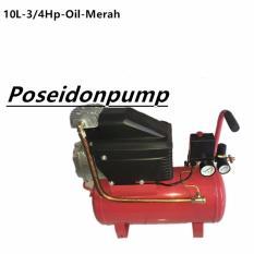 MAXPUMP Mesin Kompresor Angin Listrik  3/4HP - 10liter Air Compressor Oil Silent - Merah