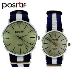 POSITIF Cornella Putih Biru - Jam Tangan Couple - Tali Kanvas - PS-096 /  Mini PS-096 Cornella Putih Biru + Free Box Jam Tangan