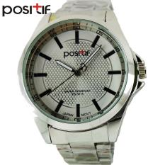 POSITIF Linense Putih Silver - Jam Tangan Pria - Rantai Alloy - PS-3615 Linense White Silver + Free Box Jam Tangan
