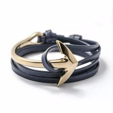 Premium Gelang Tali Kulit Kepala Jangkar  Navy/Gold