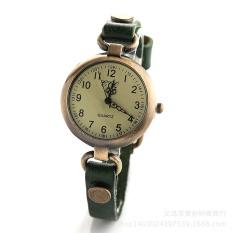 Premium leather retro fashion personality men's women watch wholesale Yiwu watch manufacturersgreen - intl