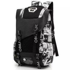Dicetak Fashion Shoulder Bag Versi Korea dari Kapasitas Besar Mahasiswa Backpack Siswa Sekolah Menengah Pertama Tas Pria Tren Mode Kanvas Perjalanan Bahu Tas Komputer untuk Wanita-Intl