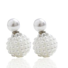 Pro Berkualitas Brand New Intimation Pearl Trendy Stud Earrings untuk Wanita Double Side Bentuk Anggur Ball Brincos Cute Girl Hadiah Natal