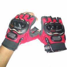 Jual Probiker Sarung Tangan Motor Model Batok Racing Half Merah Lengkap