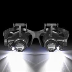 Profesional Kepala Mengenakan Kaca Pembesar W/LED Lampu 10x 15X 20x 25X Jauhari Pembesar Watch Repair Magnifier Tool + Lensa Yang Dapat Diganti & Head Band-Intl