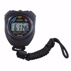 Professional Stopwatch Handheld LCD Chronograph Timer with Strap / Stopwatch Profesional - Hitam
