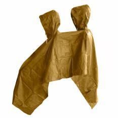 Jas Hujan Ponco 2 Kepala - Bahan Taslan Seperti Jashujan AXIO - Bukan Bahan Karet - Coklat Tua
