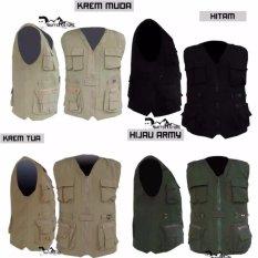 PROMO !!! jaket rompi army outdoor krem tua (motor, mancing, safety, militer, airsoft, hunting)