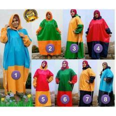 PROMO PALING DISUKA PALING DICARI Mantel gamis JUMBO/Jas hujan muslimah UKURAN BESAR warna kombinasi TERLARIS