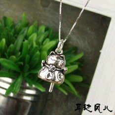 Promote sales rumor son 925 pure silver Maneki Nekos revive old customs to mourn to fall to bell Dang a necklace a lovely kitty female lock bone chain - intl