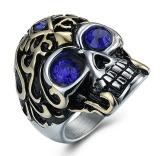 Diskon Puding Pria Kepribadian Titanium Steel Cincin Tengkorak Biru Branded
