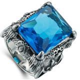 Jual Puding Pria Retro Domineering Precious Stone Cincin Biru Original