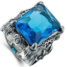 Review Puding Pria Retro Domineering Precious Stone Cincin Biru Oem Di Tiongkok