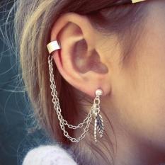 Punk Kepribadian EarClip Tassel Daun Charm Metal Ear Stud Earring SL-Intl