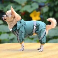 Anak Anjing Peliharaan Keren Jas Hujan Glisten Bar Hoody Tahan Terhadap Udara RainLovelyJackets Mantel Pakaian Pakaian (hijau-XS) -Intl