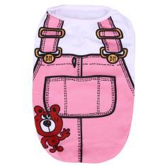 Puppy Vest Kemeja Anjing Peliharaan Kostum Lucu Spring Kain (Merah Muda)-M-Intl