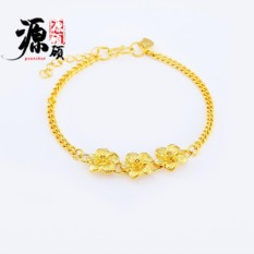 Murni Perhiasan Kuningan Gold Berlapis Gold 24 Karat 3 Bunga Gelang Wanita Vietnam Hati Gelang Emas-Intl
