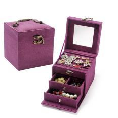 Jual Putri Kain Beludru Penyimpanan Kotak Kosmetik Tiga Lapisan Perhiasan Kotak Original