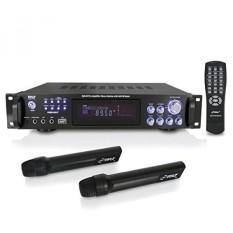 Pyle 4 Channel Home Audio Power Amplifier - 3000 Watt Stereo Receiver w/ Speaker Selector, AM FM Radio, USB, Headphone, 2 Wireless Mics fr Karaoke, Great fr Home Entertainment System - PWMA3003T - intl