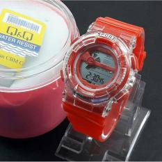 Q&Q Digital - Jam Tangan Anak Pria & Wanita / Remaja QQ 2502 DR - Transparan Water Resist 10 M - Bahan Tali Rubber - Model Fashion
