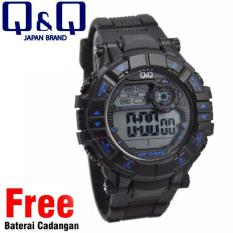 Q&Q Digital Jam Tangan Pria - Hitam - Strap Karet - M152J003Y