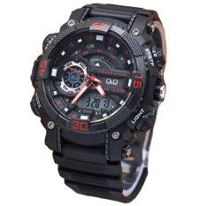 Harga Q Q Dual Time Jam Tangan Sport Pria Rubber Strap Black Red Q Q Gw8700Y Yang Murah Dan Bagus